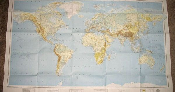 Large 1963 WORLD MAP Color Fold Out Wall MAP American Geographic Society MID CENTURY MOD On