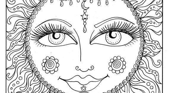 Instant Download SUN Summer Coloring page Adult Coloring