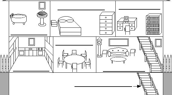 Label the Rooms of a House in Spanish Printout