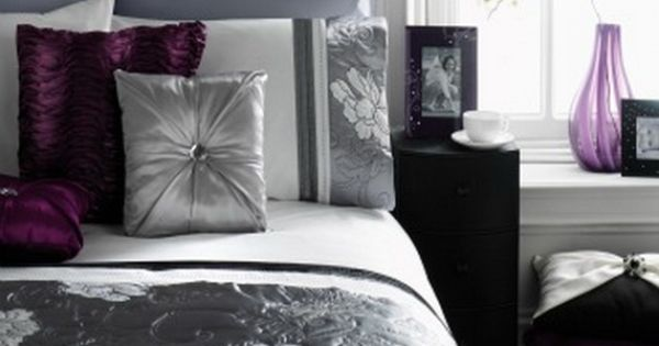 Black grey and plum bedroom  Perfect House  Pinterest