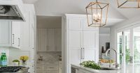 Remodeled White Kitchen with Vaulted Ceiling Beams | k i t ...