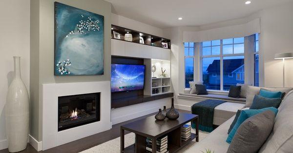 sofa rug arrangement fabric bed sydney asymmetrical tv and fireplace look | finalist ...