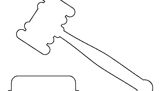 Gavel pattern. Use the printable outline for crafts