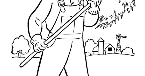 Letter F Is For Farmer Coloring Page