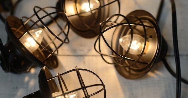 Nautical Cage String Lights Black 10ct Lantern String