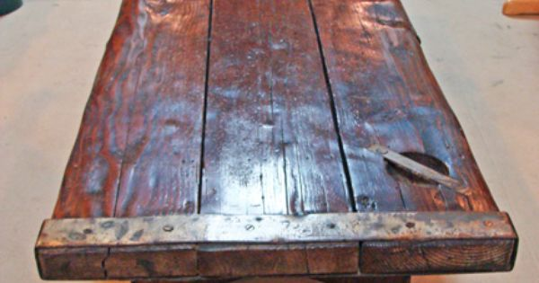 Nautical thick pine coffee table made using an authentic