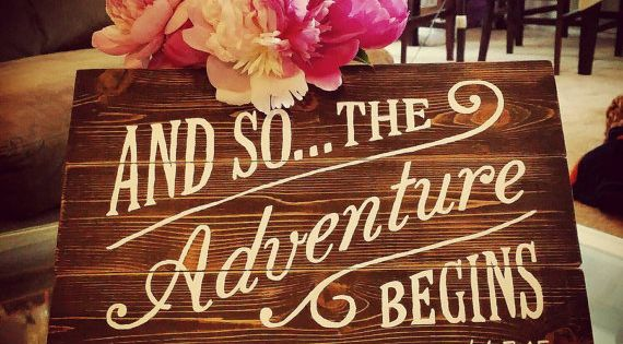 And So The Adventure Begins Hand Painted Wood Sign Trail Mix Bars Pandora Jewelry And Chalk Board