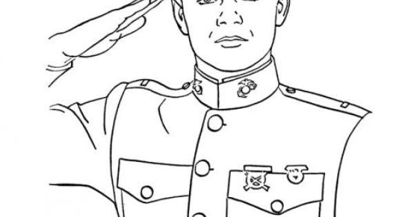 Saludo Militar Dibujo De Joven Cadete Capitan Marina Para