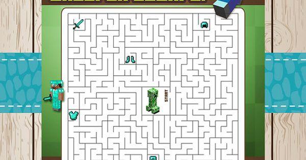 Printable Minecraft Maze Game Creeper Escape By