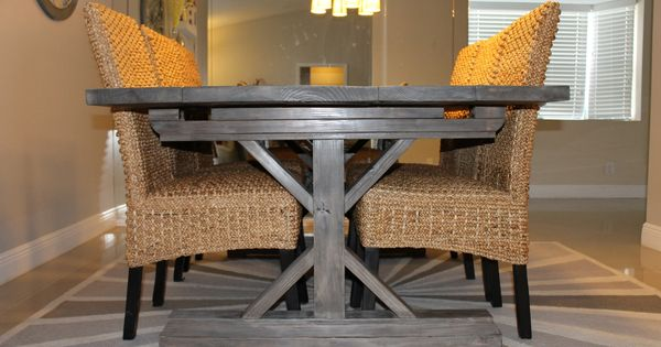 farmers dining table and chairs trex rocking chair farmhouse for 8 | weathered gray fancy x with extensions do ...