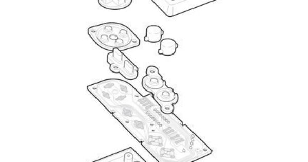 Nintendo NES controller technical exploded view poster