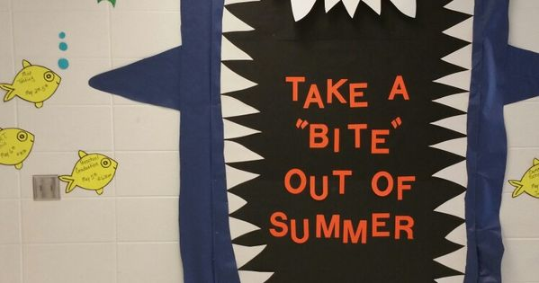 Shark summer bulletin board  bulletin boards  Pinterest