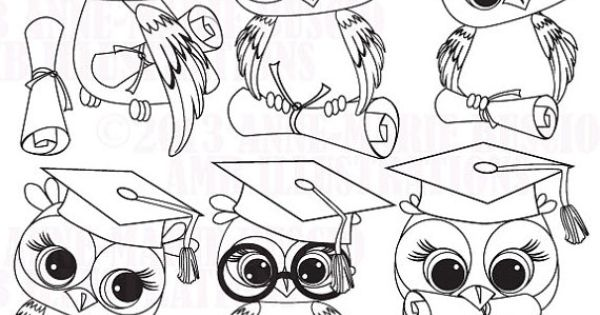 Graduation Owl Clipart, Owl Digital Stamps, coloring page
