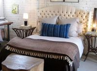 bedrooms - ivory cream tufted headboard striped indigo ...