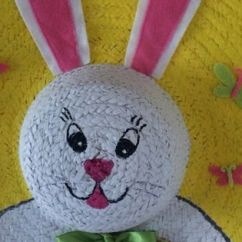 Dollar Tree Easter Chair Covers Bent Wood Chairs Bunny Wreath Made From Straw Hat, 18