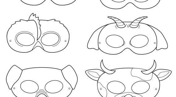 Barnyard Animals Printable Coloring Masks, farm animal