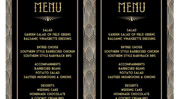 Printable Menu Card Template Great Gatsby Style Art Deco Wedding DOWNLOAD Instantly