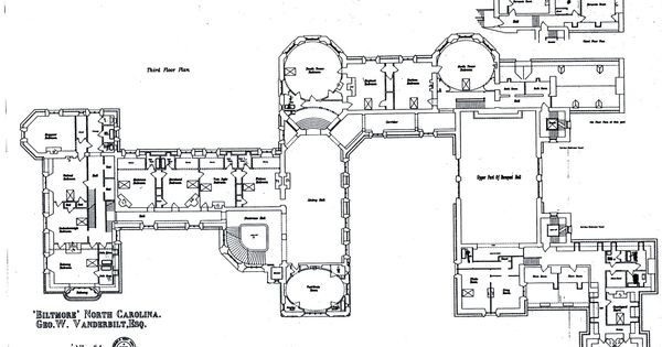 Biltmore third floor plan with lights labeled  Gilded Era