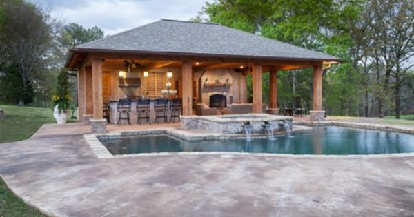 Outdoor Kitchen Designs With Roofs Pool Cabana Backyard