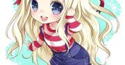 anime girl blonde hair green eyes