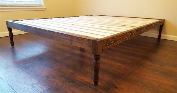Turned Leg Platform Bed Bohemian Style Bed Low By