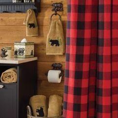 Valance Curtains For Kitchen Chalkboard Buffalo Check Bear Applique Shower Curtain | Cabin Fever ...