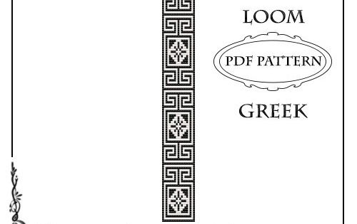Greek Key Loom Beading Pattern Bracelet or Square Stitch #