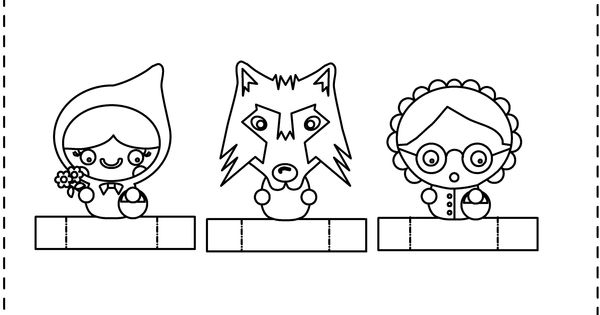 Little red riding hood finger puppets. Colour, cut out