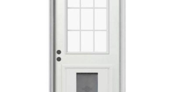 JELD-WEN 9 Lite Primed White Steel Entry Door With Large