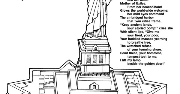 Printable Statue of Liberty Poem, Quote and coloring page