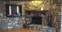 how to paint a stone fireplace with black grout | Clean ...