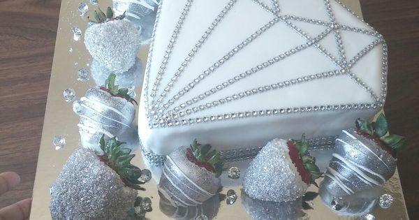 Diamond Shaped Cake With White Chocolate Covered