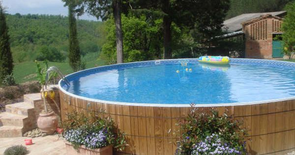 Wood lined above ground pool I just plan to wrap it in bamboo  C  Backyard  Pinterest
