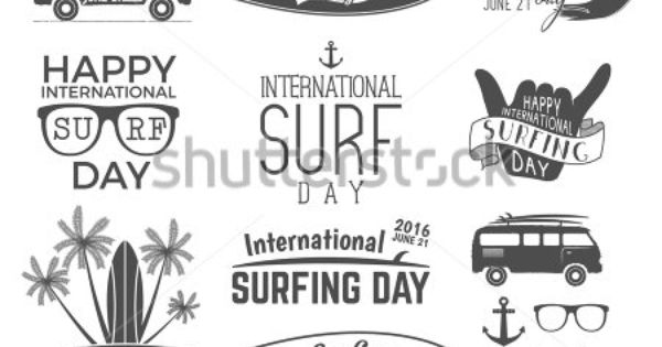 Summer surfing day graphic elements. Vector Vacation