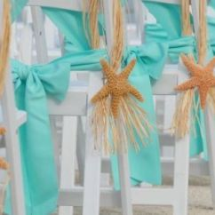 Starfish Wedding Chair Decorations Folding Chairs With Cushion Beach Aisle Decor : Blue Ceremony Diy Flowers Ivory ...