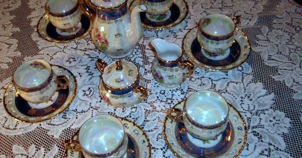 Lusterware Tea Set Seyei Fine China SEY34 Japan 17 Piece