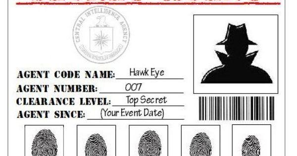 Secret Agent, Spy, Detective, CIA Printable ID Card Party