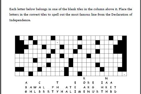 Declaration of Independence Fallen Tiles Puzzle Worksheet