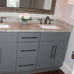 Rustic Painted Kitchen Cabinets Island With Storage Grey Shaker Oil Rubbed Bronze Pulls And ...