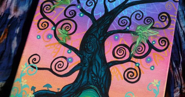 Portal  Original Acrylic Painting on Stretched Canvas OOAK Faerie Otherworld Fairy Doorway