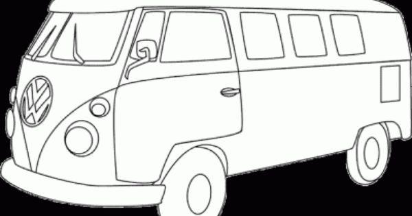 VW van coloring page, Volkswagen bus printable coloring