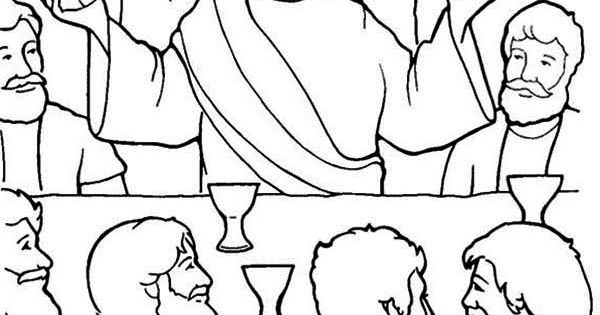 Last Supper, Jesus in the Last Supper Coloring Page: Jesus