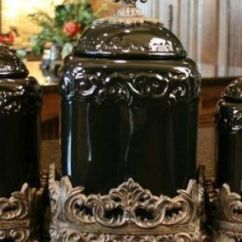 Tuscan Kitchen Canisters Cupboards Ideas Drake Design Large Fleur De Lis Black Onyx Canister ...
