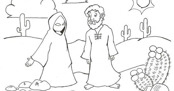 Satan tempting Jesus; Matt 4:3 And when the tempter came