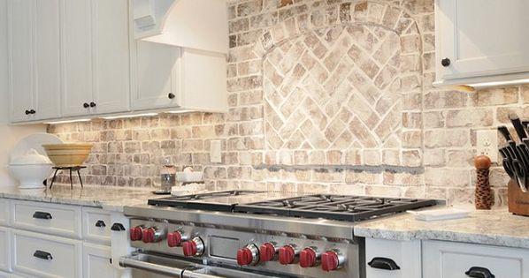 Kitchen Brick Backsplash Kitchen with granite countertop
