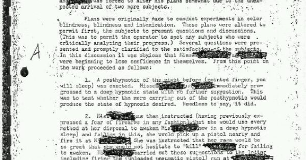 Declassified document on brainwashing and hypnosis