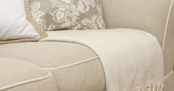 Khaki Sofa with Off White Piping  Room Makeovers