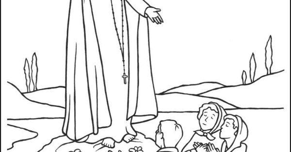 Pastorinhos Francisco, Jacinta e Lúcia com a Virgem de