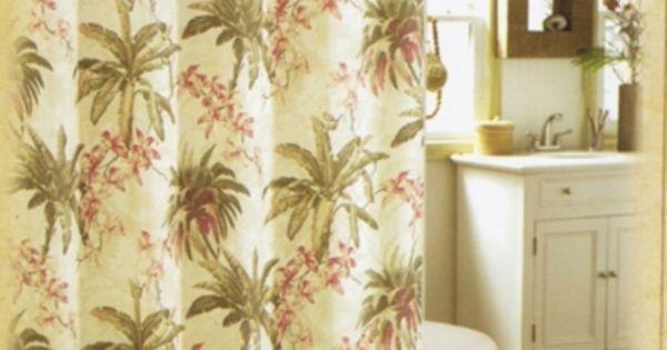 Designer Tommy Bahama Bath Curtain  Palm Tree Shower