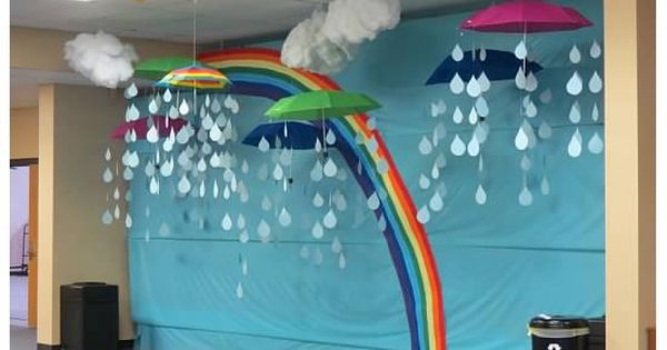 Rainbow Bulletin Board W Hanging 3d Clouds Raindrops And